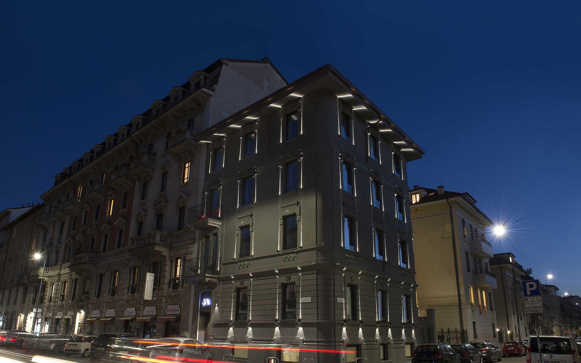 mia aparthotel - vista esterna palazzo serale